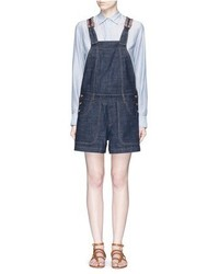 See by Chloe See By Chlo Stripe Knit Trim Denim Romper