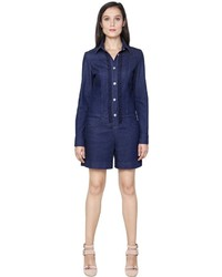 See by Chloe Embroidered Cotton Denim Romper