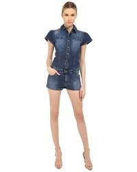 RED Valentino Short Sleeve Denim Romper