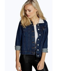 Boohoo Julia Indigo Sherpa Collar Denim Jacket