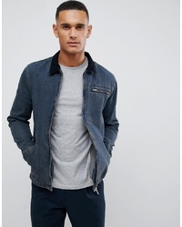 New Look Denim Worker Jacket With Cord Collar
