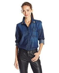 7 For All Mankind Slim Boyfriend Button Front With Crystals