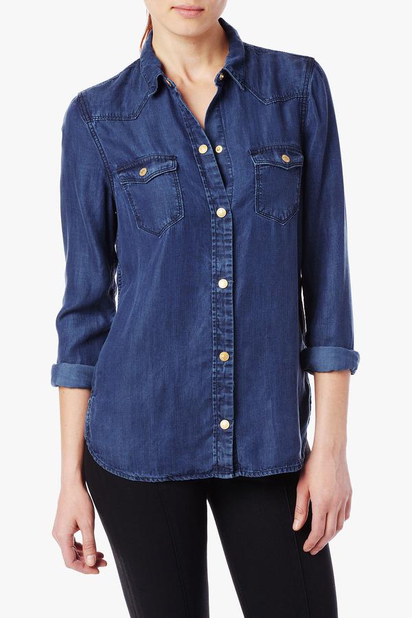 fd3a1f92a0 7 For All Mankind Slim Western Denim Shirt In French Blue