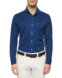 Loro Piana Alain Denim Long Sleeve Sport Shirt Indigo