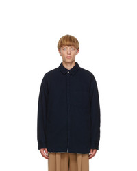 Jil Sander Blue Denim Padded Shirt