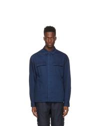 Juun.J Blue Denim Two Pockets Contrast Shirt