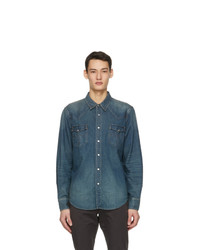 RRL Blue Denim Western Shirt