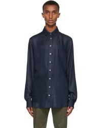 Giorgio Armani Blue Lyocell Denim Look Shirt