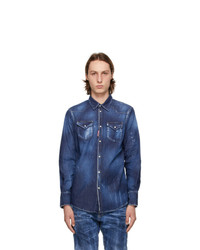 DSQUARED2 Blue Zlatan Ibrahimovi Denim Icon Talent Shirt