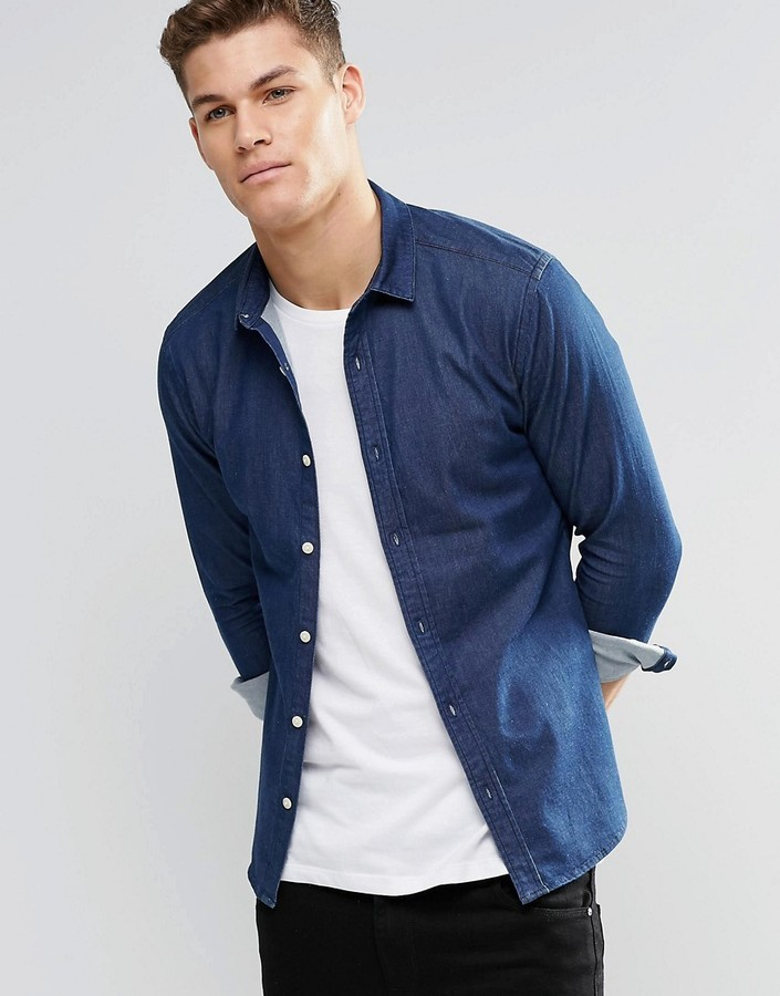 6bd94c619f ... Asos Brand Skinny Denim Shirt In Rinse Wash With Long Sleeves ...