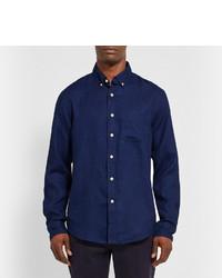 CLUB MONACO Button-down Collar Linen Shirt - Navy GwUlrStHy