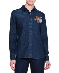 Stella McCartney Button Front Tiger Embroidered Shirt Dark Blue