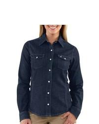 Carhartt Snap Front Denim Shirt Long Sleeve Midnight Indigo