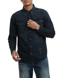 True Religion Brand Jeans Carter Distressed Denim Shirt