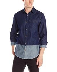 Original Penguin Color Block Indigo Woven Shirt