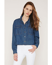 Forever 21 Contemporary Buttoned Denim Shirt