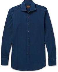 Tod's Cutaway Collar Gart Washed Cotton Twill Shirt