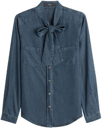Steffen Schraut Denim Blouse With Bow