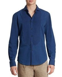 Brunello Cucinelli Denim Tuxedo Casusal Button Down Shirt