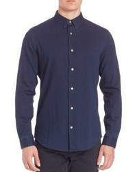 Vince Denim Twill Woven Button Down Shirt
