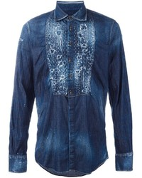 Distressed denim shirt medium 787308