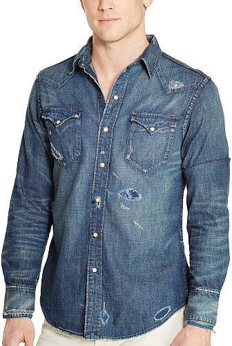 b319385d859 Polo Ralph Lauren Distressed Denim Western Shirt