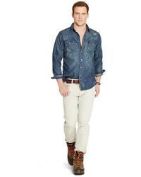 2f82312fd25 ... Polo Ralph Lauren Distressed Denim Western Shirt