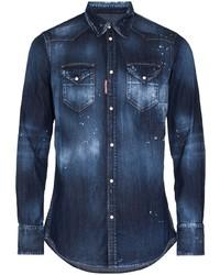 DSQUARED2 Faded Paint Splatter Denim Shirt