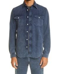 Boglioli Gart Dyed Cotton Moleskin Button Up Overshirt