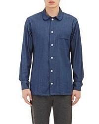 Ovadia & Sons Grosgrain Trimmed Denim Shirt Blue