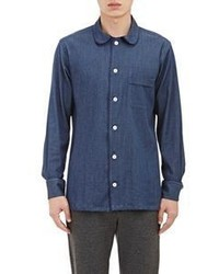 Ovadia & Sons Grosgrain Trimmed Denim Shirt Blue Size S