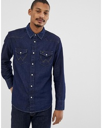 Wrangler Icons 27mw Western Denim Shirt In New Rinse Wash
