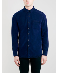 Topman Indigo Drapey Twill Long Sleeve Shirt
