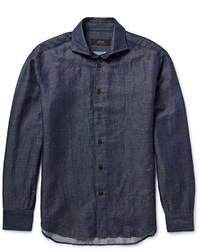 Brioni Indigo Linen And Cotton Blend Shirt