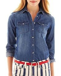 jcpenney Jcp Jcp 2 Pocket Denim Shirt