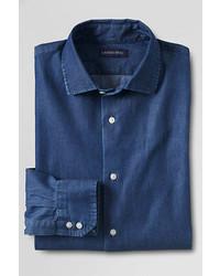 Lands' End Landsend Traditional Fit Denim Dress Shirt Deep Blue Indigo20l