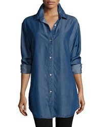 Go Silk Long Sleeve Button Front Denim Shirt