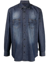 Philipp Plein Long Sleeve Denim Shirt