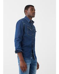 Mango Man Slim Fit Dark Wash Denim Shirt