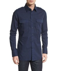 Tom Ford Military Style Washed Twill Sport Shirt Navy