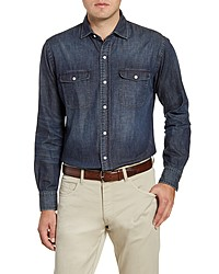 Peter Millar Mountainside Regular Fit Button Up Denim Shirt