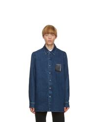 Raf Simons Navy Denim Slim Fit Shirt