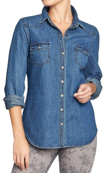 Old navy denim western shirts where to buy how to wear for Denim shirt women old navy