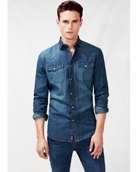Mango Outlet Classic Fit Dark Denim Shirt