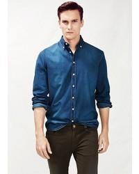 Mango Outlet Slim Fit Dark Wash Denim Shirt