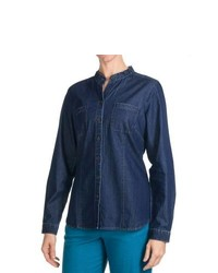 Pendleton Weekend Work Shirt Mandarin Collar Long Sleeve Denim