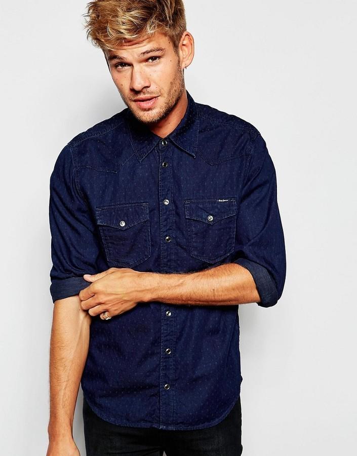 a50bb92b781 ... Pepe Jeans Pepe Denim Shirt Carson Slim Fit Western Dobby Indigo ...