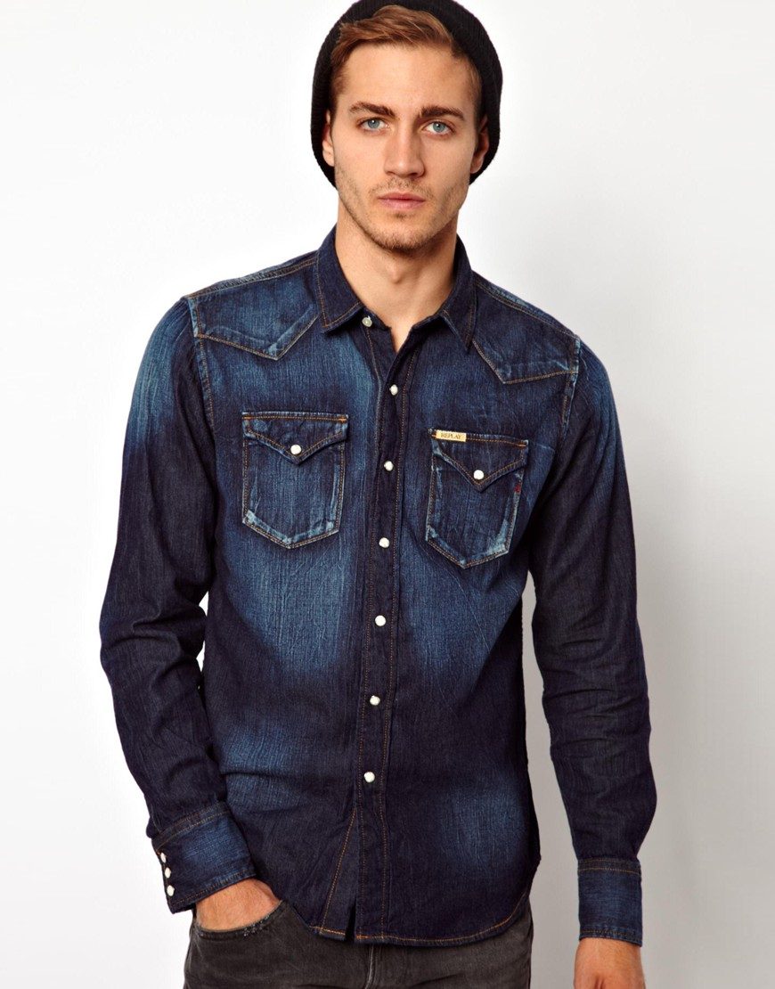 Replay Denim Shirt Mid Blue Where To Buy How To Wear