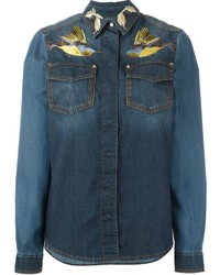 Roberto Cavalli Embroidered Birds Denim Shirt