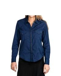 Scully Diamond Jacquard Western Shirt Long Sleeve Navy